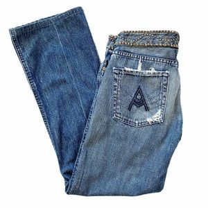 7 For All Mankind Havana Distressed Boot Cut Jeans